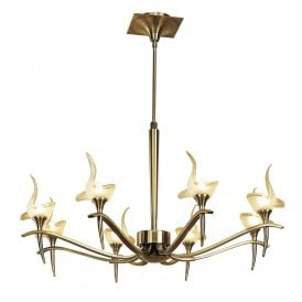 Viena 8 Light Telescopic Ceiling Pendant in Antique Brass Finish Complete with Frosted Glass Shades