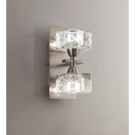 Zen Double Halogen Switched Light Wall Fitting in Satin Nickel Finish