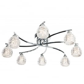 Maple 8 Light Semi-Flush Ceiling Fitting in Polished Chrome with Clear Moulded Glass