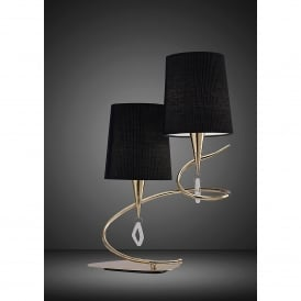 Mara 2 Light Low Energy Table Lamp in French Gold Finish with Black Shades