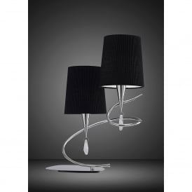 Mara 2 Light Low Energy Table Lamp in Polished Chrome Finish with Shade