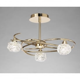 Maremagnum 3 Light Ceiling Fitting in French Gold Finish