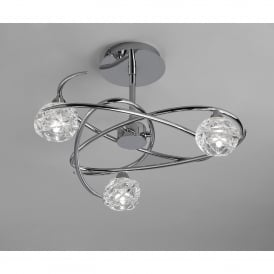 Maremagnum 3 Light Ceiling Fitting in Polished Chrome Finish