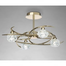Maremagnum 4 Light Ceiling Fitting in French Gold Finish