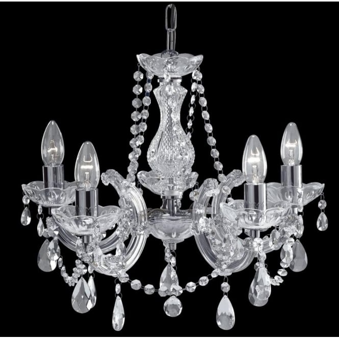 Searchlight lighting marie therese acrylic 5 light crystal glass searchlight lighting marie therese acrylic 5 light crystal glass chandelier with polished chrome finish lighting type from castlegate lights uk mozeypictures Image collections