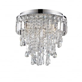 Bresna 3 Warm White LED Crystal Flush Ceiling Fitting in Polished Chrome Finish