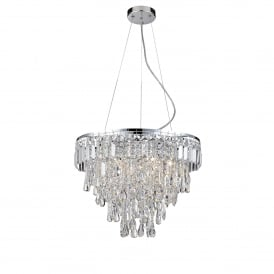 Bresna 6 Warm White LED Crystal Ceiling Pendant in Polished Chrome Finish