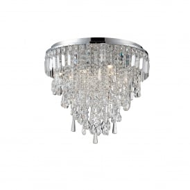 Bresna 6 Warm White LED Crystal Flush Ceiling Fitting in Polished Chrome Finish