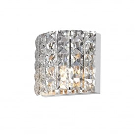 Moy Single LED Crystal Bathroom Wall Light in Polished Chrome Finish