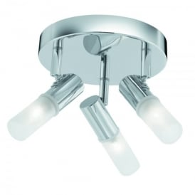 Mars 3 Light Bathroom Ceiling Spotlight Fitting In Polished Chrome Finish With Frosted Glass Diffuser