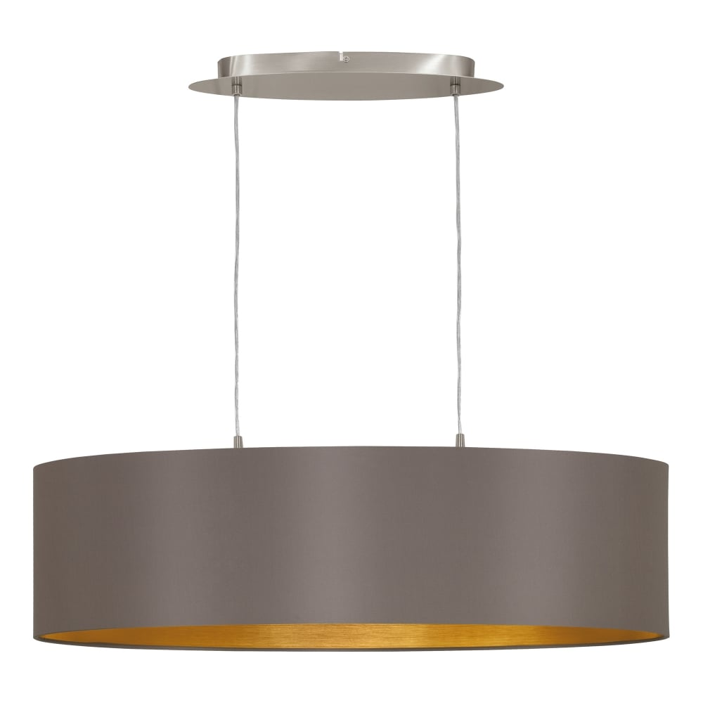 eglo lighting maserlo 2 light ceiling pendant in satin nickel finish with cappuccino fabric. Black Bedroom Furniture Sets. Home Design Ideas