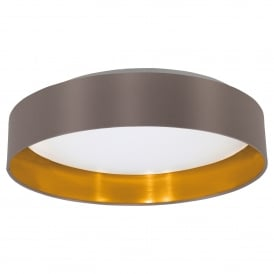 Maserlo LED Flush Ceiling Fitting With Cappuccino Fabric Shade And Gold Lining And White Diffuser