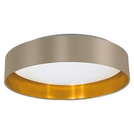 Maserlo LED Flush Ceiling Fitting With Taupe Fabric Shade And Gold Lining And White Diffuser