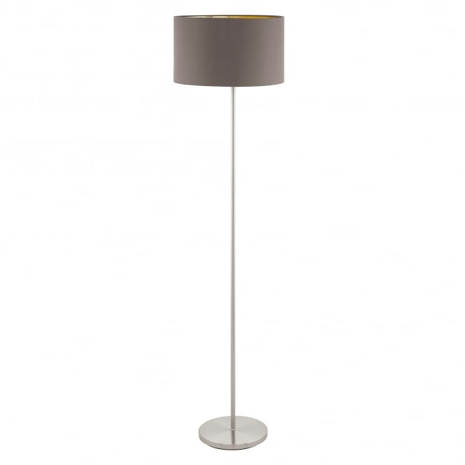 eglo lighting maserlo single light floor lamp in satin nickel finish with cappuccino fabric. Black Bedroom Furniture Sets. Home Design Ideas
