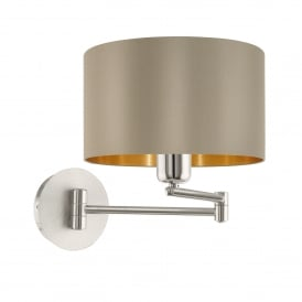 Maserlo Single Light Swing Arm Wall Fitting In Satin Nickel Finish With Taupe Fabric Shade And Gold Lining