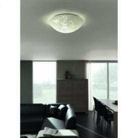Fay 2 Light Flush Ceiling Fitting with White Glass Shade