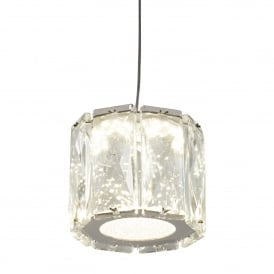 Maxim Single Light LED Ceiling Pendant In Polished Chrome Finish With K9 Clear Crystal Shade