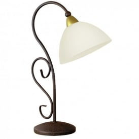 Medici Single Light Table Lamp In Antique Brown With Limed Glass White Shade