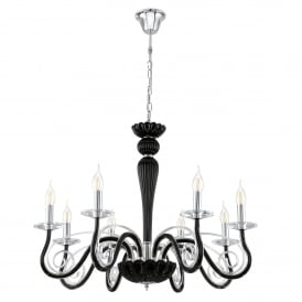 Meduno 8 Light Ceiling Pendant In Polished Chrome And Black Glass Finish