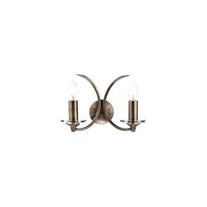 Dar Lighting Medusa 2 Light Switched K9 Crystal Wall Fitting in Antique Brass Finish