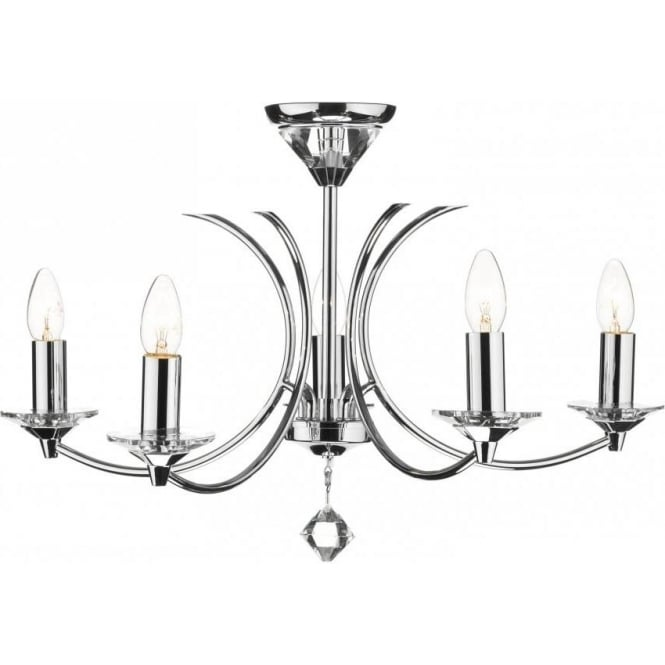 Dar Lighting Medusa 5 Light K9 Crystal & Polished Chrome Ceiling Fitting