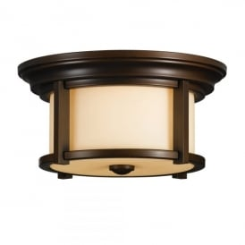 Merrill 2 Light Flush Ceiling Fitting in Heritage Bronze Finish (Outdoor)