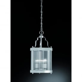 Merton 3 Light Ceiling Lantern Pendant In Polished Chrome Finish With Clear Ribbed Glass Shade