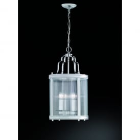 Merton 4 Light Ceiling Lantern Pendant In Polished Chrome Finish With Clear Ribbed Glass Shade
