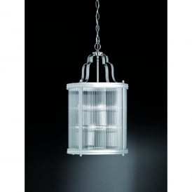 Merton 8 Light Ceiling Lantern Pendant In Polished Chrome Finish With Clear Ribbed Glass Shade