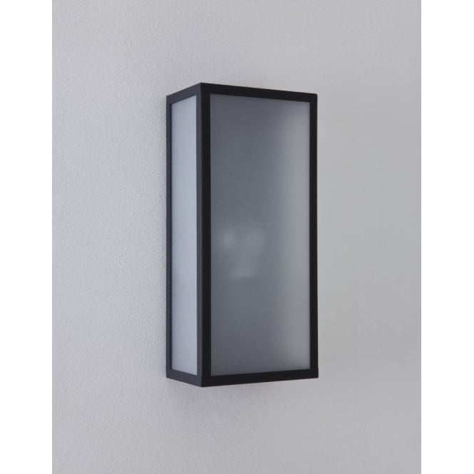 Astro Lighting Messina Single Light Outdoor Wall Fitting In Black Finish With Frosted Diffuser And PIR Sensor