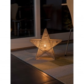 Metal Illuminated Star with Beige Cotton Thread
