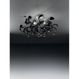 Astro 3 Light Halogen Black Glass Ceiling Fitting
