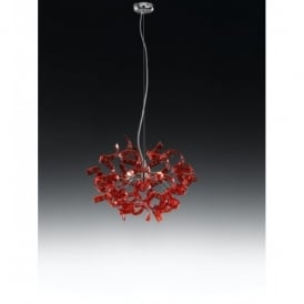 Astro 3 Light Halogen Red Glass Ceiling Pendant
