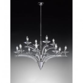 Icaro 12 Light Ceiling Fitting In Chrome And Crystal Detail