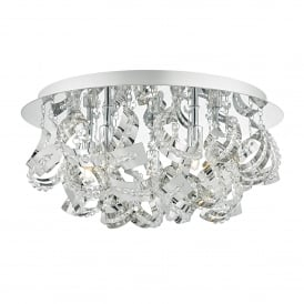 Mezen 5 Light Flush Ceiling Fitting in Polished Chrome Finish with Faceted Crystal Beads