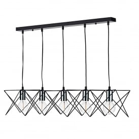 Midi 5 Light Ceiling Bar Pendant In Matt Black Finish With Polished Chrome Lamp Holders