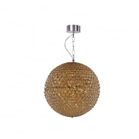 Milano 3 Light Small Ceiling Pendant In Polished Chrome And Champagne Crystal Finish