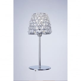 Milano Single Light Table Lamp In Polished Chrome And Clear Crystal Finish