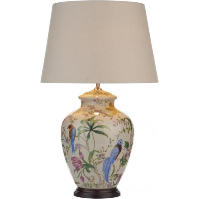 Dar Lighting Mimosa Single Light Table Lamp With a Pale Cream Base and Floral Bird Design