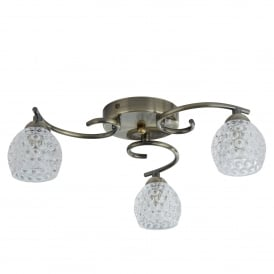 Minnie 3 Light Semi Flush Ceiling Fitting In Antique Brass Finish With Dimpled Clear Glass Shades