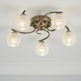 Minnie 5 Light Semi Flush Ceiling Fitting In Antique Brass Finish With Dimpled Clear Glass Shades