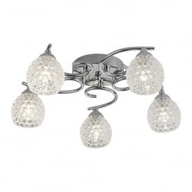 Minnie 5 Light Semi Flush Ceiling Fitting In Polished Chrome Finish With Dimpled Clear Glass Shades