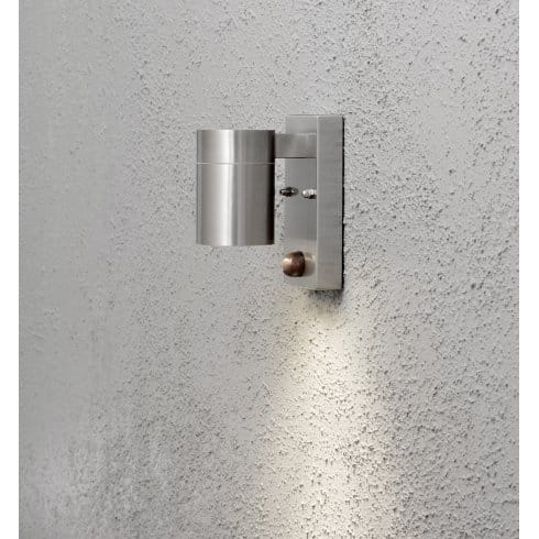 Konstsmide Modena Single Light Halogen Outdoor Wall Fitting in Stainless Steel Finish With PIR ...