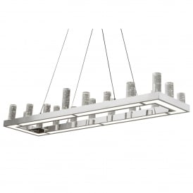 Modern 54W LED Ceiling Pendant In Polished Chrome Finish And Clear Glass Columns