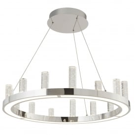 Modern LED Ceiling Pendant In Polished Chrome Finish And Clear Glass Columns