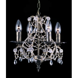 Montpellier 4 Light Ceiling Pendant In Antique Bronze Finish With Crystal Decoration