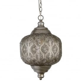 Moroccan Single Light Ceiling Pendant In Antique Silver Finish