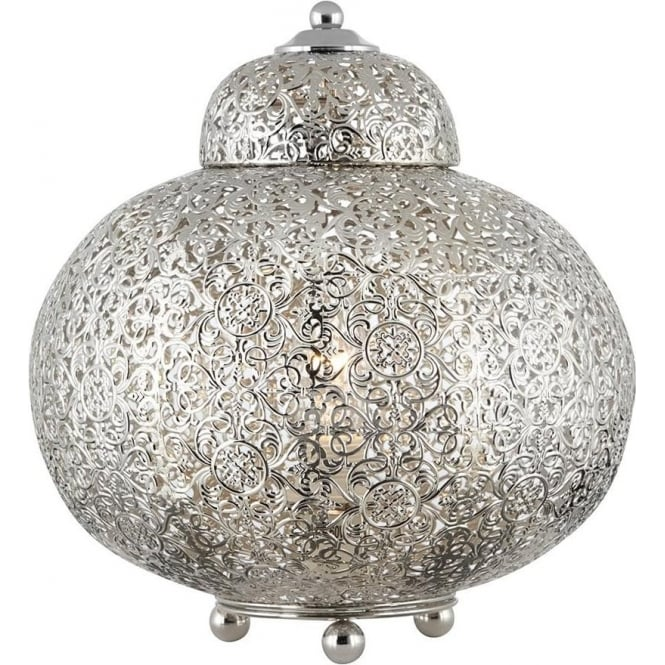 Searchlight Lighting Moroccan Single Light Rounded Shiny Nickel Table Lamp with Clear Decorations