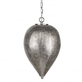 Moroccan Single Light Tapered Ceiling Pendant In Shiny Nickel Finish