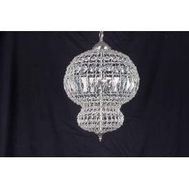 Morocco 3 Light Ceiling Pendant In Crystal And Satin Nickel Finish